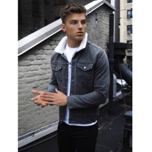 Grey Fur Denim Jacket