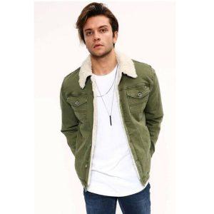 Greenish Fur Denim Jacket
