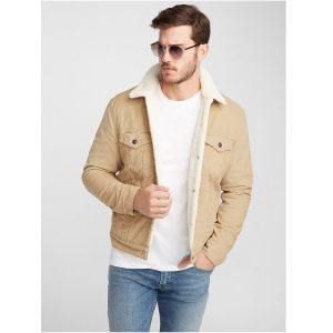 Biege Fur Denim Jacket