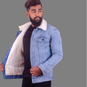 Sharp Blue Fur Denim Jacket